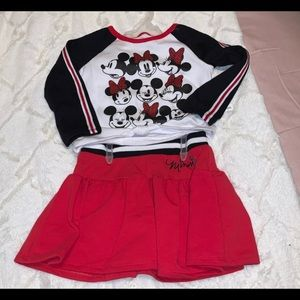 2 PC Long Sleeve Top with Cute Red Skirtt